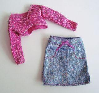Pretty Pink Glitter Skirt Set Lot Barbie Doll Clothes