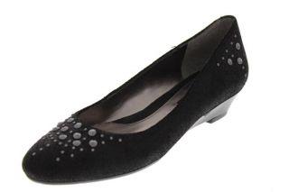 Bandolino New Emalita Black Suede Studded Metallic Wedge Heels Shoes 9