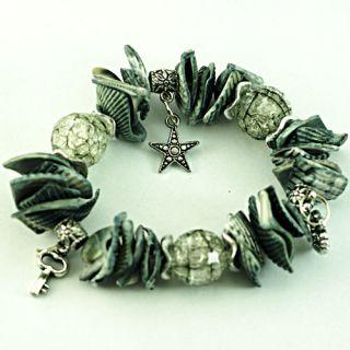Stylish Black Stretch Shell Beads Star Heart Dangle Bangle Bracelet