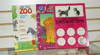 Piece Lot of Activity Books at Zoo Zoo Animals How to Draw Cats