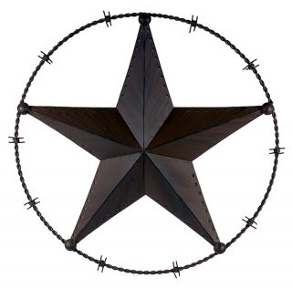 Brown Metal Barn Star in Barbed Wire Circle Home Yard Wall Decor 24