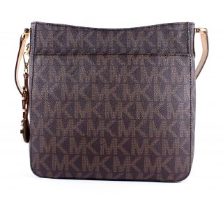 Kors Signature PVC Jet Set Travel Large Messenger Bag Tote New