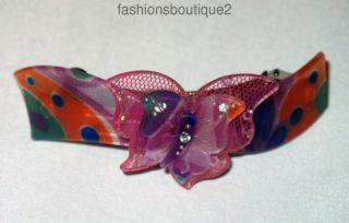 CLOSEOUT Butterfly Pattern Barrette Clear Crystals Ships Fast from USA