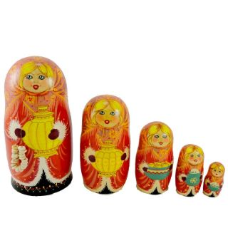 Christmas Girl with Bagels D5457 Matryoshka Russian Doll New
