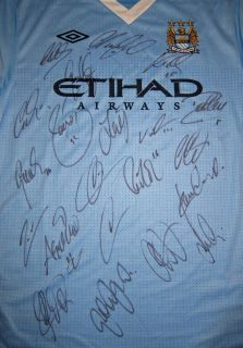 Manchester City Signed Shirt Jersey 2012 Champions $1NR Aguero Tevez