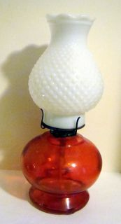 Vintage Red Eagle P A Ridson Mfg Co Oil Lamp with Milkglass Hobnail