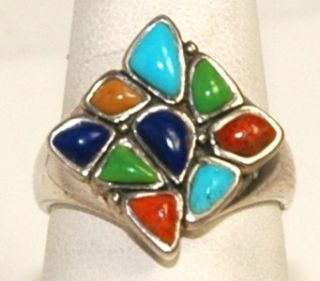 Vintage Barse .925 Sterling Silver Turquoise Lapis Jade Squared Ring