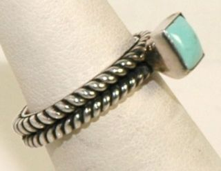 Vintage Barse & Company .925 Sterling Silver Turquoise Rope Trim Ring