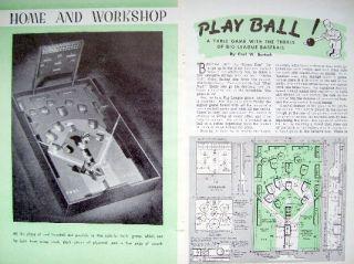 1944 How to Build Baseball Table Top Pinball Game Plans