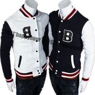Letter B Punk Mens Baseball Uniform Casual Jacket Sports Coat Navy