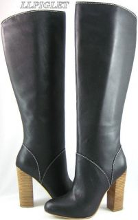 Steven Steve Madden Barone Black Leather Knee Boots 10