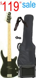 Black Electric Bass Guitar Starter Beginner Pack with Amp Strap Cable