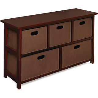 Badger Basket Wooden Organizer 5 Drawer Bins Storage Dresser Cherry