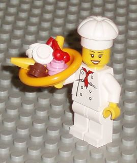 Lego Girl Female Minifigure Chef w Food Banana Split Ice Cream in Bowl