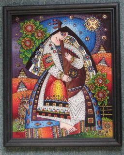 Mother and Bandura Reverse Hand Painting Framed