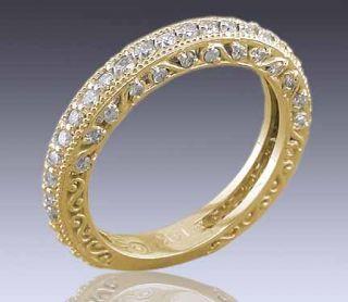 80ct Antique Diamond Wedding Band 18K Yellow Gold Ring