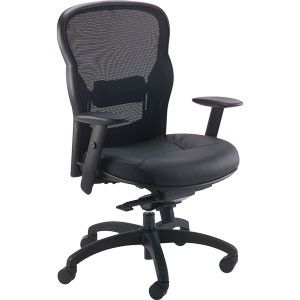 Basyx VL701 Chair Black Mesh Leather Breathable Mesh Back Arms