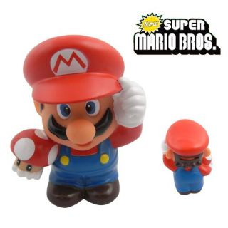 super mario bros with toad 5 coin piggy money bank figure