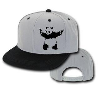 BANKSY PANDA NEW VINTAGE 2 TONE EMBROIDERY FLAT BILL SNAPBACK HAT