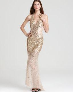 Basix New Gold Sequined V Neck Halter Full Length Formal Dress Gown 4