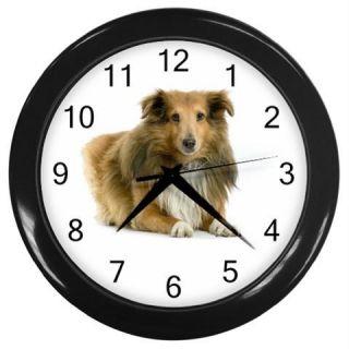 Shetland Sheepdog Sheltie Dog Puppies Photo Wall Clock