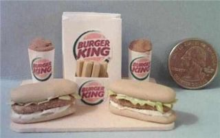 Barbie Sized Burger King Food Displays Salad Chicken Subs