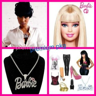 Nicki Minaj Barbie Necklace Pendant w Franco Style Chain Its Barbie