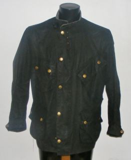 Mens Barbour International Nato motorcycle waxed wax jacket black size