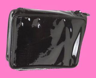 Black Patent Cosmetic Travel Organizer Makeup Bag Case