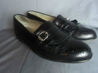 Mens Florsheim Barletta Series Black Leather Dress Shoes Size 9 5