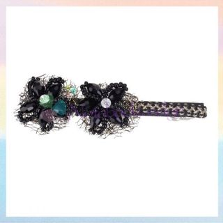 Elegant Lady Girl Shining Black Beads Plum Blossom Hair Barrette Clip