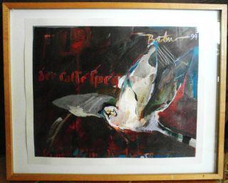 rick Bartow Bird Painting Small Hawk Native American Indian Art