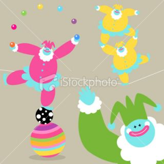 stock illustration description vector illustration funny clown holding