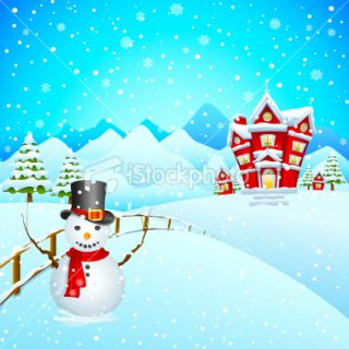 Snowman wishing Merry Christmas  Stock Illustration  iStock