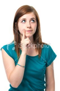 teenage girl is thinking Royalty Free Stock Photo