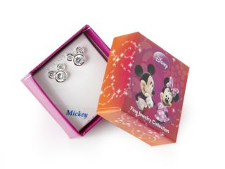 Disney Mickey Mouse Sterling Silver White Crystal Stud Earrings, April