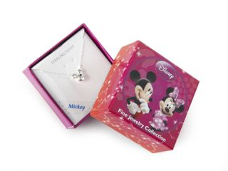 Disney Mickey Mouse Sterling SIlver White Crystal Necklace, April