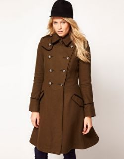 Image 1 of ASOS Military Fit And Flare Coat