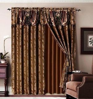 Newly listed Luxury Brown Jaquard Bronze Panel Valance Curtain Drapes