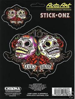 lucky 13 decal skulls and roses set of two for