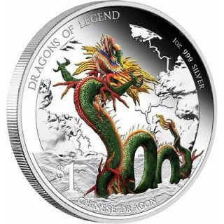 Tuvalu 2012 DRAGONS OF LEGEND   CHINESE DRAGON 1 oz SILVER PROOF COIN