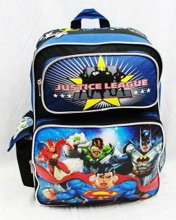 Justigue League Large 16 School Backpack   SUPER MAN / BAT MAN