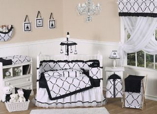 BLACK WHITE DESIGNER COLLECTION 9pc BABY GIRL CRIB COMFORTER BEDDING