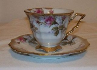 Gorgeous Vintage Royal Sealy China MOSS ROSE w/ Gold Trim Footed Cup