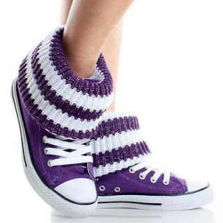Purple Canvas Sock Roll Down Sneakers Womens Flat Knee High Boots Size