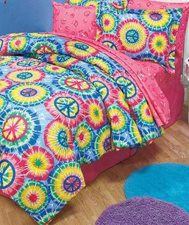 VIBRANT COLORS PEACE SIGN 3 PC FULL/QUEEN COMFORTER BED SET NEW