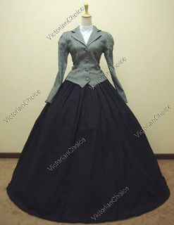 Civil War Victorian Brocade and Cotton Ball Gown Dress Prom
