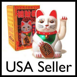 LUCKY BECKONING CAT 5 White Wealth Waving Kitty Maneki Neko Feng Shui