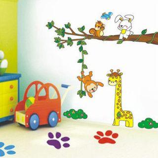 Animals Zoo Monkey Rabbit Swing Wall Sticker Decor Decals Removable