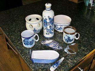 Delft Blue Set Holland Decanter Bottle Bowl Planter Wall Pocket 8